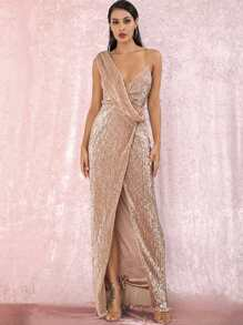 LOVE&LEMONADE Twist Split Thigh Backless Draped Maxi Sequins Dress