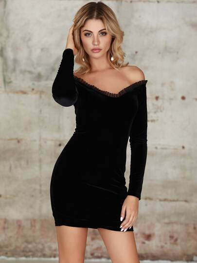 Double Crazy Off Shoulder Frill Mesh Trim Velvet Dress