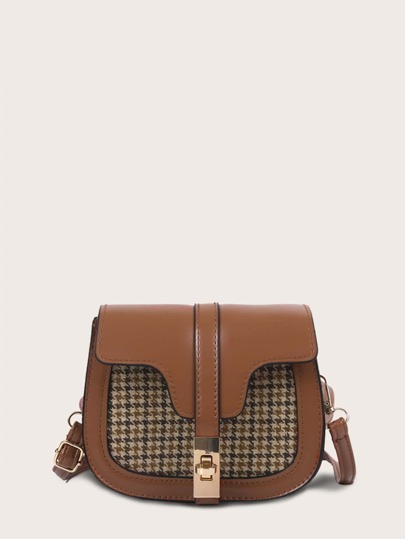 Twist Lock Houndstooth Saddle Bag