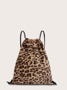 Fuzzy Leopard Backpack With Drawstring