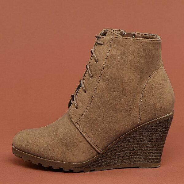 Lace Up Lug Sole Wedge Ankle Booties, Camel