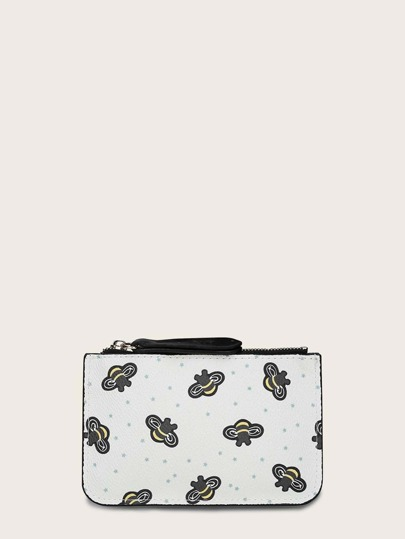 Bee Graphic Purse With Keychain