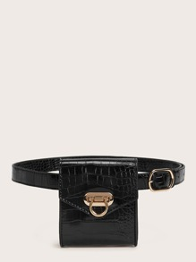 Croc Embossed Flap Fanny Pack