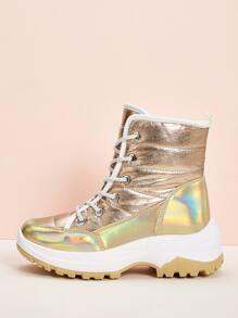 Holographic Contrast Piping Lug Sole Boots
