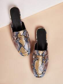 Square Toe Snakeskin Loafers Mules