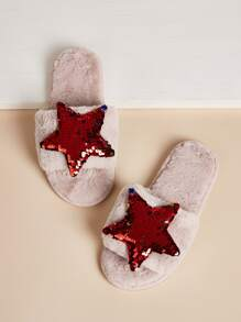 Christmas Contrast Sequin Star Decor Slippers