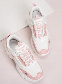 Two Tone Lace-up Front Chunky Sneakers