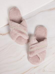 Pearl Decor Criss Cross Slippers