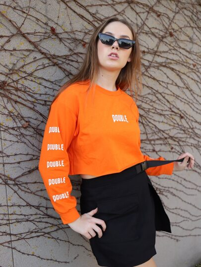 Neon Orange Letter Graphic Crop Sweatshirt