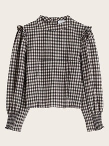 Gingham Shirred Cuff Frill Trim Blouse