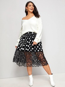 Plus Contrast Lace Polka Dot Flared Skirt