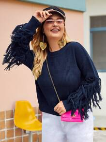 Plus Fringe Trim Drop Shoulder Sweater