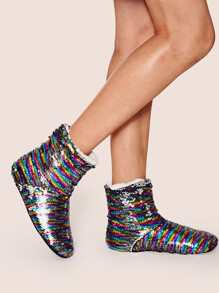 Sequins Decor Faux Fur Lined Boots