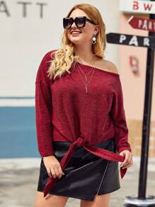 Plus Knot Hem Drop Shoulder Sweater