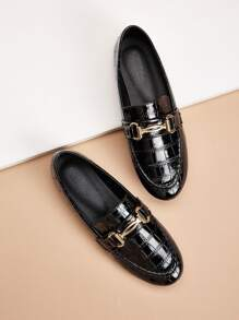 Croc Embossed Patent Loafers