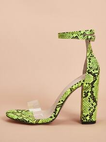 Snakeskin Print Clear Strap Chunky Heels
