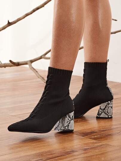 Contrast Snakeskin Print Knit Boots