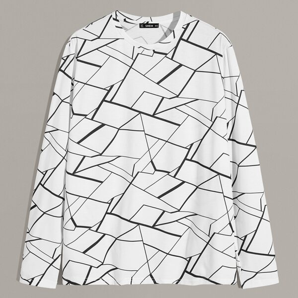 Men Geo Print Top, Black and white