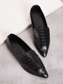 Croc Embossed Point Toe Dress Shoes