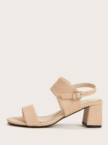 Bamboo Weave Textured Slingback Chunky Heels