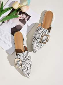 Buckle Decor Snakeskin Loafers Mules