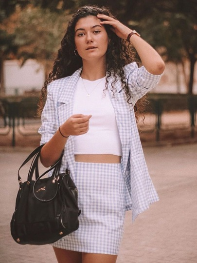 Notched Collar Buttoned Front Gingham Blazer & Skirt Set