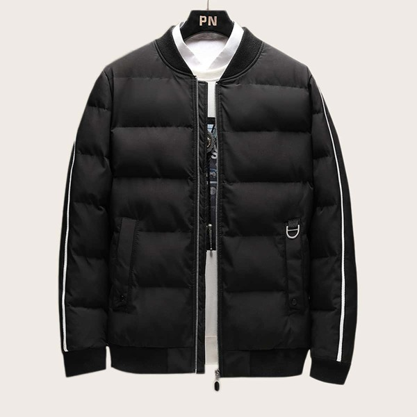 Men Side Stripe Letter Patched Puffer Jacket, Black