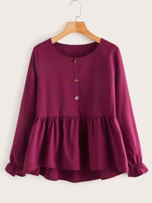 Half Button Ruffle Hem Blouse