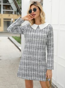 Tweed Contrast Collar Plaid Fitted Dress
