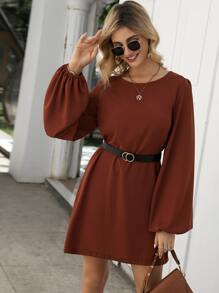 Bishop Sleeve Belted Tunic Dress