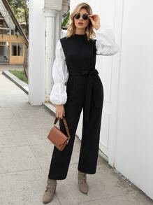 Contrast Bishop Sleeve Self Tie Jumpsuit