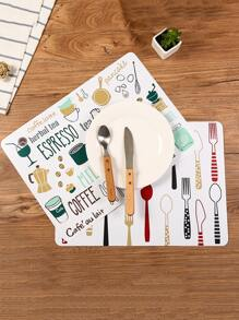 1pc Kitchen Cutlery Print Placemat
