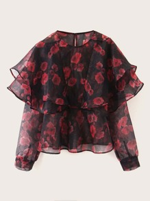 Floral Graphic Keyhole Back Layered Blouse