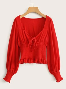 Knot Front Shirred Waist Frill Trim Blouse