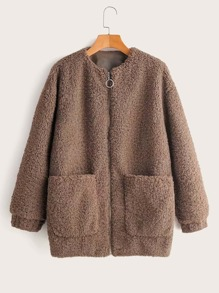 Zip Up Double Pocket Teddy Coat