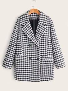 Double Breasted Pocket Front Houndstooth Print Coat
