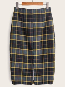 Zip Up Plaid Split Pencil Skirt