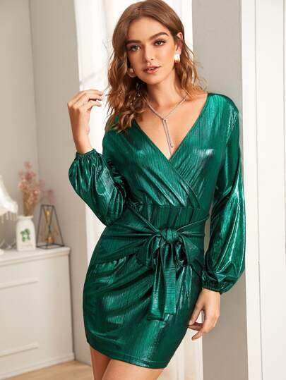 Metallic Surplice Tie Front Dress