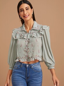 Floral Embroidery Ruffle Trim Crop Blouse