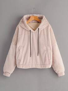 Pocket Side Drawstring Teddy Sweatshirt
