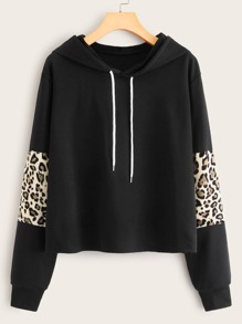 Contrast Leopard Drawstring Hooded Sweatshirt