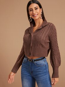 Cable Knit Button Front Crop Cardigan