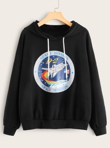 Rocket And Letter Graphic Drawstring Hoodie