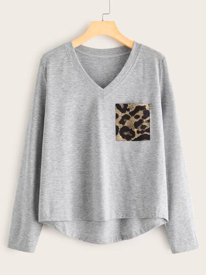 Contrast Leopard V-Neck High Low Hem Tee