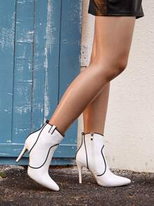 Contrast Piping Point Toe Stiletto Boots