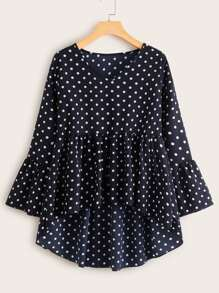 Polka Dot Flounce Sleeve High Low Blouse