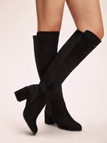 Side Zip Knee High Chunky Boots