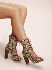 Peep Toe Snakeskin Lace-up Front Boots