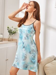 Floral Print Satin Cami Night Dress