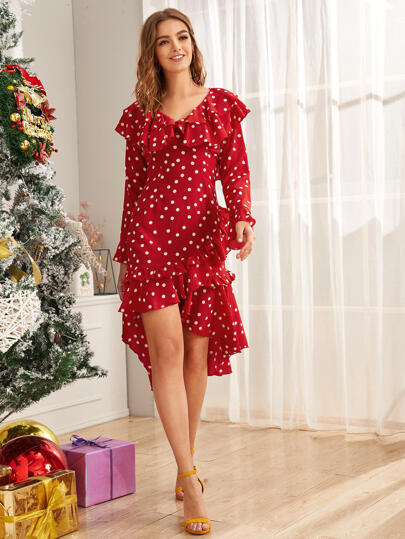 Polka Dot Ruffle Trim Flounce Sleeve Dress